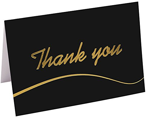110 Highest Quality Elegant Thank You Cards in Black with Envelopes and Stickers - Bulk Notes Embossed with Gold Foil Letters for Weddings, Graduations, Engagements, Business, Formal, Baby Shower, 4x6 by T&M Quality Designs
