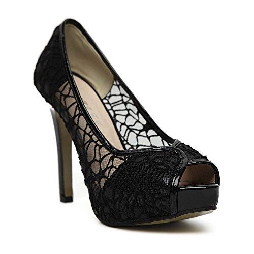 Amoonyfashion Kvinna Pu Solid Dra På Peeptoe Spikar Stilettos Krängt-sandaler Svart