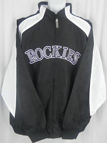 Majestic Colorado Rockies MLB Textured Full Zip Black Jacket Big & Tall Sizes (2XT) ()