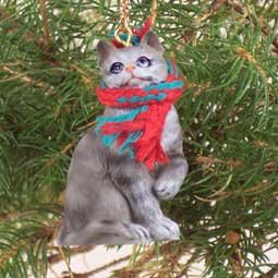 1 x silver shorthaired tabby cat christmas ornament by conversation concepts