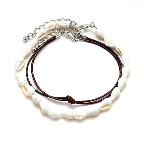 Anklet Double Leather - xingqiong Bohemian Double Layer Shell Conch Bracelet Anklet Adjustable Brown Handmade Braided Rope Anklet Foot Barefoot Jewelry for Women Men Jewelry Gift(Brown)