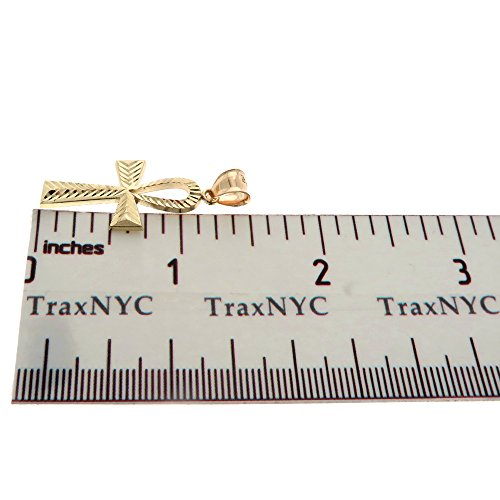 Genuine Stamped Authentic 10K Yellow Two-Tone Gold Charm Pendant Hip Hop Jewelry Gift Christmas Present (Ankh Cross) by Traxnyc (Image #5)