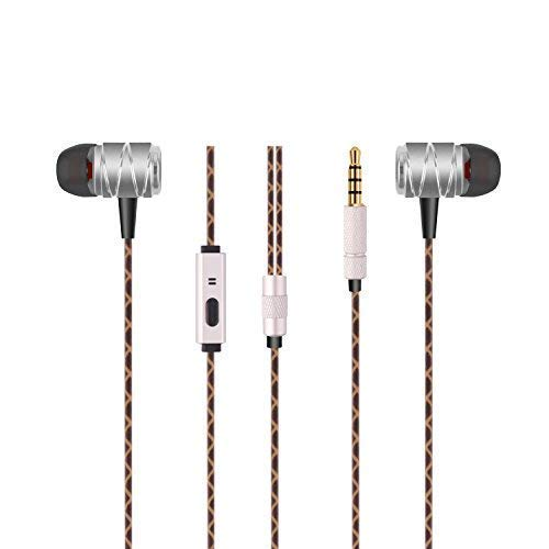 Sonzi Extra Bass Earbud Headset for iPhone/iPod/iPad/ MP3 Players/Samsung Galaxy/Nokia/HTC, Ear Headphones Noise Isolating Stereo Bass Earphones with Mic, 3.5 mm Interface Devices - - Stereo Headset Silver Nokia