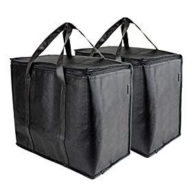 SB Organics Insulated Thermal Food Delivery Bag – Portable Lunch Bag Great for Grocery Shopping, Catering Supplies, and Food Transportation – Use as Food Warmer and Cooler – 15 x 9 x 12-Inches