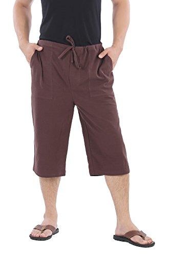 CandyHusky Men Cotton Casual Drawstring Loose Capri Yoga Pants Pyjamas One Size (Dark (Mens Capri Pants)