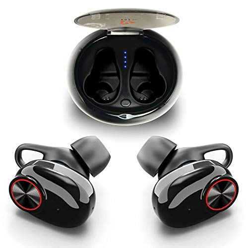 True Wireless Earbuds Bluetooth 5.0 by YOZZ Play | Cordless Headphones with Build-in Microphone | 3D Stereo Bass Sound & Noise Cancelling Headset with Charging Box | 5 Hours Music ()