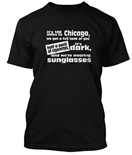Bathroom Wall Blues Brothers It's 106 Miles To Chicago Inspired, Men's T-Shirt, Medium, - Brothers 106 Blues Miles