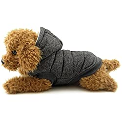SMALLLEE_LUCKY_STORE Fleece Lined Dog Coat Hooded Stylish Winter Dog Clothes, Large, Grey