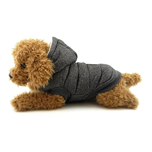 SMALLLEE_LUCKY_STORE Cold Weather Small Dog Coat with Hood Fleece Lined Snow Coat, XX-Large, Grey ()
