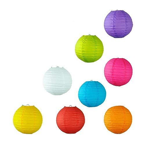 LIDORE 8 Pack Assorted Different Multi Color Chinese Paper Lanterns Lamps 8 Inch ()
