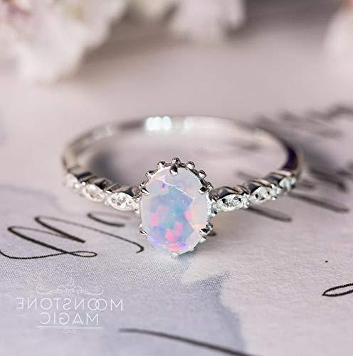 Waldenn Vintage Women Jewelry 925 Silver White Fire Opal Wedding Engagement Ring Sz6-10 | Model RNG - 14990 | ()