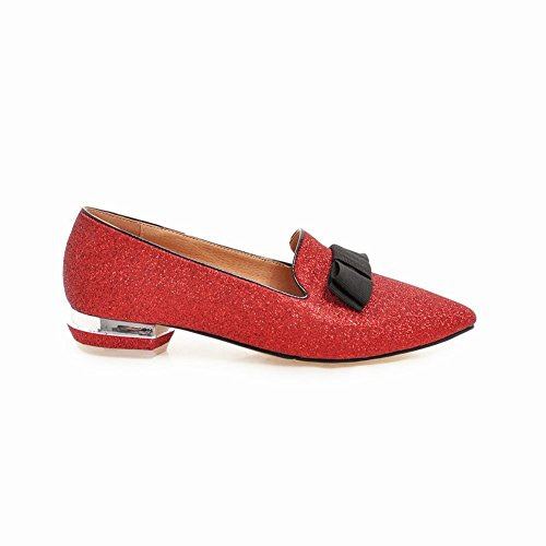 Carolbar Women's Bling Bling Lovely Low Heel Bow Pointed Toe Court Shoes Red JOkAo