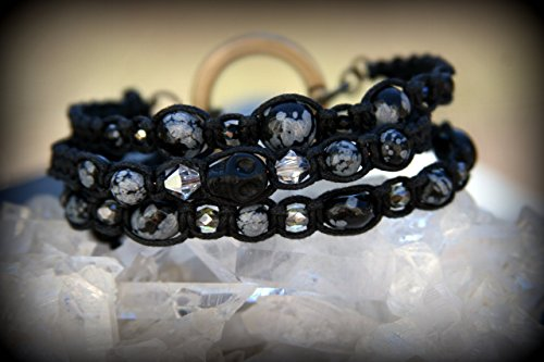 Genuine snowflake obsidian stone, magnesite skull, swarovski crystal and Czech glass stackable and interchangeable bracelet. Natural Healing Stones, jewelry for the meditative - Glasses Usa Tracking