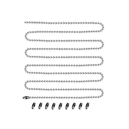 Pull Chain, 3mm Beaded Pull Chain Extension, Durable and No Rust, 12 Feet Ceiling Fan Pull Chain with 10 Matching Connectors (Chrome)