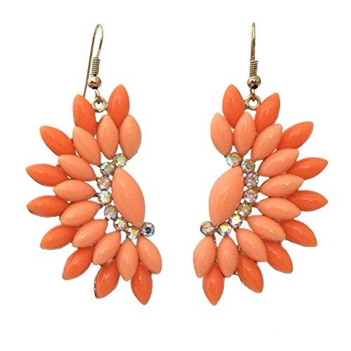 Resin & AB Rhinestones Starburst Large Statement Dangle Earrings (Orange)