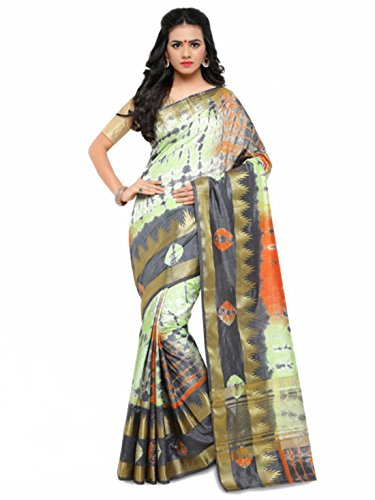 Grey Silk amp; Satrani Printed Saree Green Art qwEUv