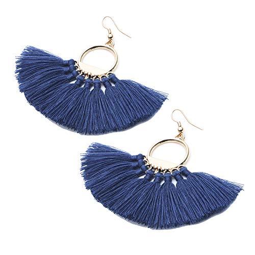 Vim Tree Womens Bohemian Fan Shape Tassel Earring Tassel Dangle Stud Earrings ()