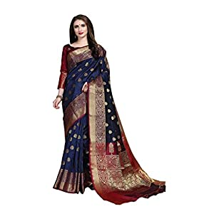 COTTON SHOPY Women's Banarasi Cotton Silk Saree With Un-stitched Blouse
