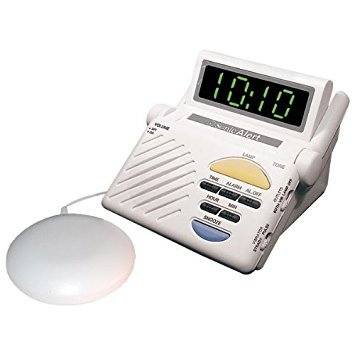 - Sonic Bomb Digital Alarm Clock with Super Shaker Vibrator with 113 DB Extra-Loud Alarm & Large LED Display, Built-In Receiver is Compatible with Sonic Alert's Complete Line of Signaling Products