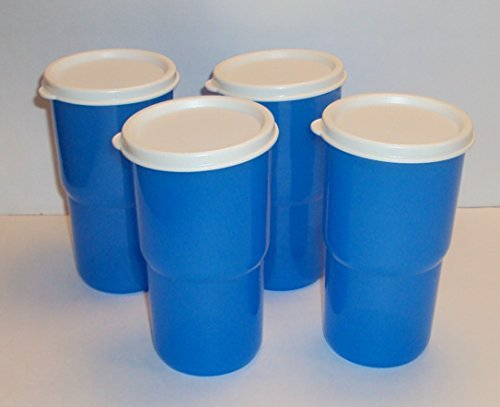 (Tupperware 12 Ounce TableTop Stacking Tumblers with Seals Blue Set of 4)