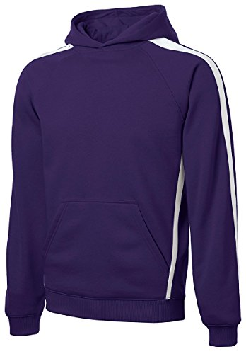 Sport-Tek Mens Tall Sleeve Stripe Pullover Hooded Sweatshirt, 3XLT, Purple/ White - Sport Tek White Sweatshirt
