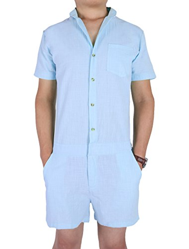Leapparel Men One-Piece Short Sleeve Jumpsuit Casual Cargo Pants Romper Overalls