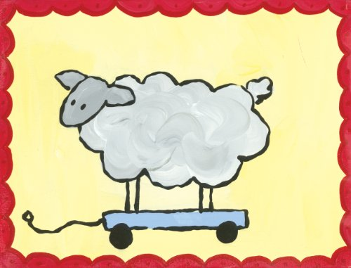 Oopsy Daisy Pull Along Sheep Stretched Canvas Art by Hillary James, 10-1/2 by 8-Inch ()