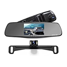 "AUTO-VOX M3 Full HD 1080P Upgraded Dual Lens Front and Rear Dash Cam Rear view Mirror Monitor 5"" Screen and IP 68 Waterproof Backup Camera License Plate with LED Superior Night Vision"