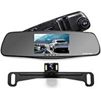 "AUTO-VOX M3 Dual Lens Dash Cam 5"" LCD Full HD 1080P Rearview Mirror Dash Cam and IP 68 Waterproof Car Reverse License Plate Backup Camera with LED Superior Night Vision Advanced Dashcam Parking Mode"
