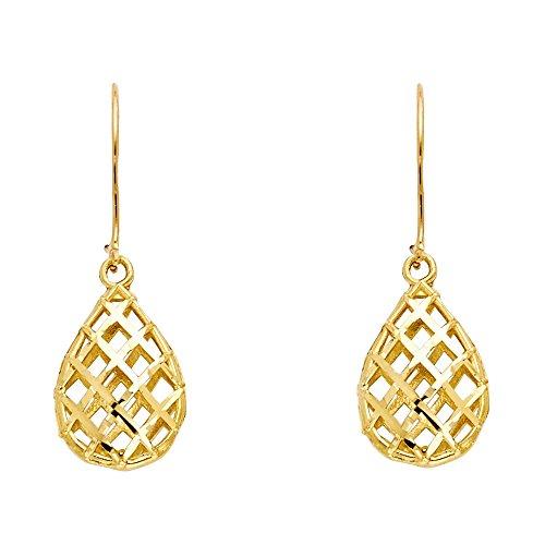Solid 14k Yellow Gold Teardrop Dangle Earrings Mesh Drop Hanging Style Diamond Cut Genuine 15 mm ()