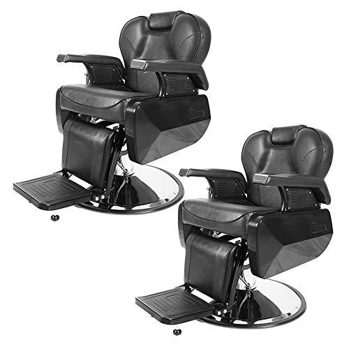 Apelila Set of 2 Professional Swivel Hydraulic Barber Salon Hair Styling Beauty Shampoo Shaving Equipment(Recliner Barber Chair)