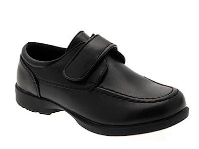 online shop detailing more photos NEW KIDS BOYS GIRLS CHILDRENS BLACK SCHOOL SHOES VELCRO FORMAL ...