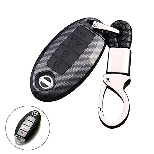 COSMOSS Key Fob Cover Case Protector Casing ABS Plastic Silicon Carbon Fiber Pattern Keyless Entry Remote Control Guard Protection Jacket for Nissan Remote Controller (Nissan 4-Button, Black)