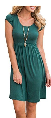 ETCYY Women's Summer Short Sleeve Scoop Neck Draped Hi Low Loose Casual Dress,Green,Medium (Neck Draped Scoop)