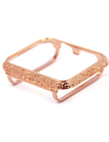 Callancity Metal Bezel Face Cover Case Bumper Compatible with Apple Watch Series 3 2 1 (Rose Gold, 42mm) ()