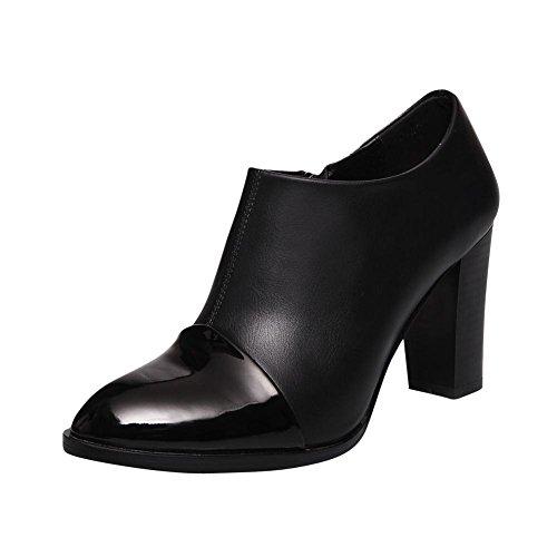 Carolbar Womens Zip Spetsig Tå Retro Mode Hög Chunky Klack Klänning Boots Svart