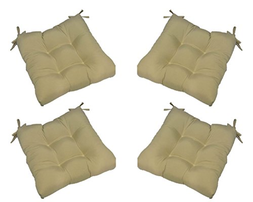 Set of 4 – Indoor / Outdoor Solid Tan Universal Tufted Seat Cushions with Ties for Dining Patio Chairs – Choose Size (20″ x 18″) Review