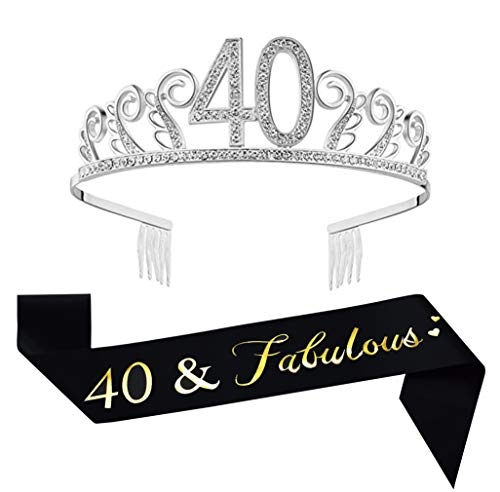 40th Birthday Tiara and Sash, Glitter Satin Sash