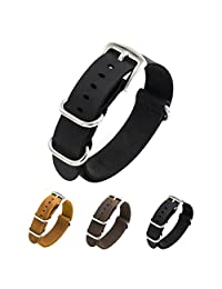 CIVO Genuine Crazy Horse Leather Watch Bands Handmade NATO Zulu Military Swiss G10 Style Watch Strap 20mm 22mm (20mm, Black)