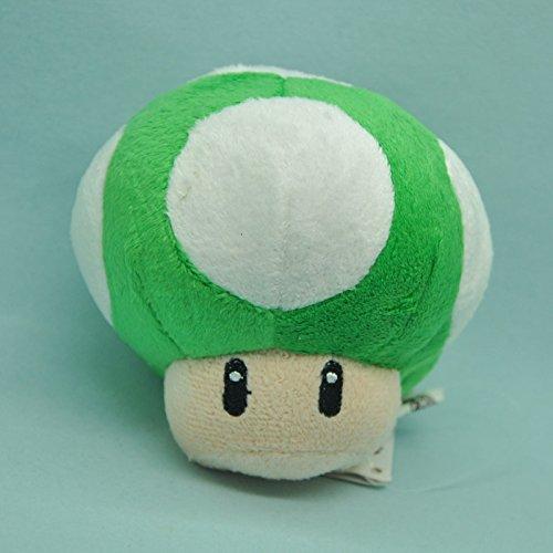 Super Mario Bros Toad Mushroom Green with Keychain 4 Inch Toddler Stuffed Plush Kids Toys (Super Mario Bros Mushroom)