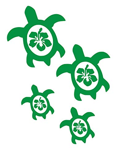 UR Impressions KGrn Hibiscus Sea Turtle Family of Four Decal Vinyl Sticker Graphics for Cars Trucks SUV Vans Walls Windows Laptop|Kelly Green|7.5 X 6.5 Inch|URI059-KG