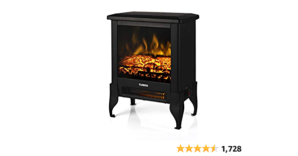 """TURBRO Suburbs TS17 Compact Electric Fireplace Stove, Freestanding Stove Heater with Realistic Flame - CSA Certified - Overheating Safety Protection - for Small Spaces - 18"""" 1400W"""