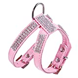 Henraly Surprising Day PU Leather Rhinestones Small Medium Dog Harness and Collar Set Exquisite Crystal Diamond pet Necklace for Cats Dogs Lead Leash,XS,Blue