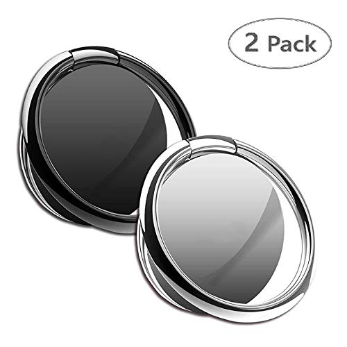 (Phone Ring Holder Finger Ring Stand 2 Packs- Universal Finger Kickstand 360°Rotation Metal Ring Grip for Magnetic Car Mount Compatible with All Smartphone (Black&Silver))