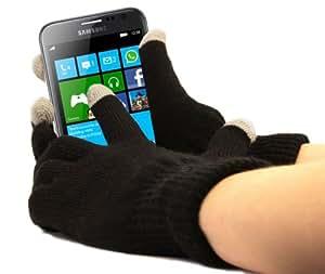 Guantes capacitivos para frío para pantalla táctil, teléfono móvil/Smartphone, Samsung ATIV S, Windows 8, color negro, talla M (medio) gris