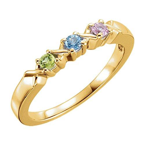 Family Mothers Ring 3 4 or 5 Birthstones (Swarovski zirconia) 10k White or Yellow or Rose Gold ()