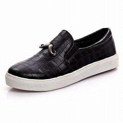 Latasa Kvinna Chic Faux-ormskinn Mönster Mustasch Plattform Slip-on Komfort Loafers Skor Svart