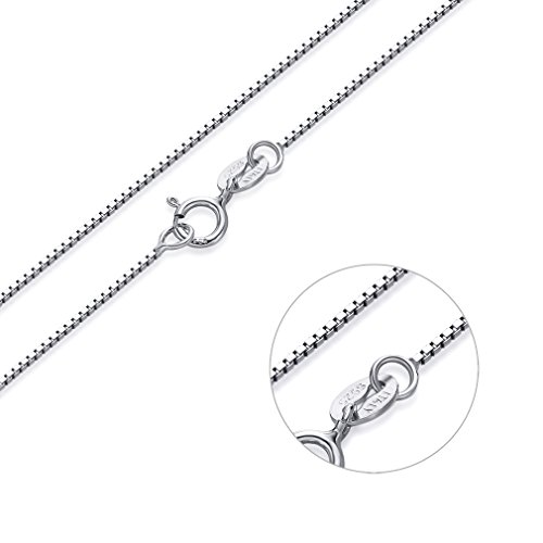 (SWOPAN 925 Sterling Silver 0.8MM Italian Box Chain Necklace with Platinum or 18K White Gold Plated Chain Super Thin Lightweight Strong - Spring Ring Clasp -)