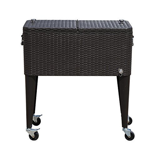 Outsunny 80 QT Rolling Ice Chest Portable Patio Party Drink Cooler Cart - Dark (Stainless Steel Rolling Cooler)