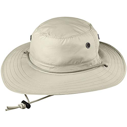 Sun Block Rafter Hat - Adjustable Chin Cord with Coolmax Sweatband - LG/XL Beige